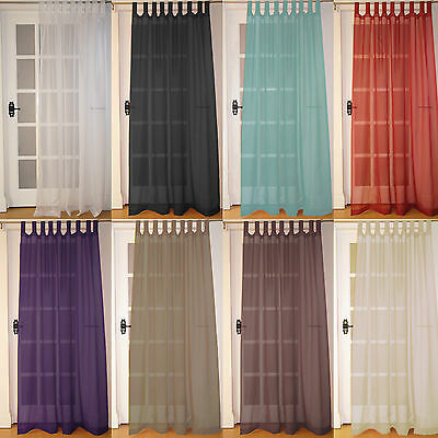 Pair Of New Tab Top (2 Panels) Woven Voile Net Curtain Panels With FREE UK POST • 13.99£