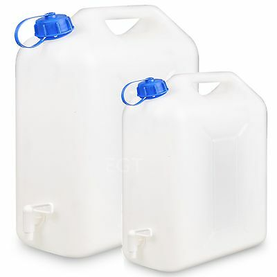 10 Or 20L Plastic Water Jerry Can Liquid Carrier Drum Pouring Spout Tap Drinking • 9.99£
