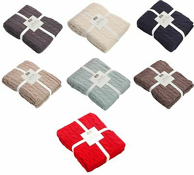 £14.99 • Buy 100% Combed Cotton Cable Knit Super Soft Sofa Throw Blanket,125x150cm- 6 Colours