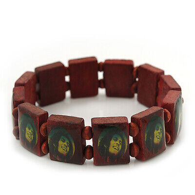 £3.99 • Buy Brown Bob Marley  One Love  Wooden Stretch Bracelet - Up To 20cm Length