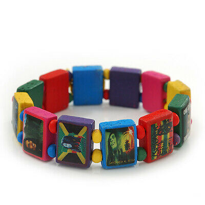 £3.99 • Buy Multicoloured Bob Marley  One Love  Wooden Stretch Bracelet - Up To 20cm Length