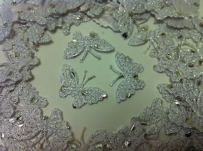 20 ! White Fabric Glittery Dotted Butterflies For Card, Scrapbooking And Wedding • 2.49£