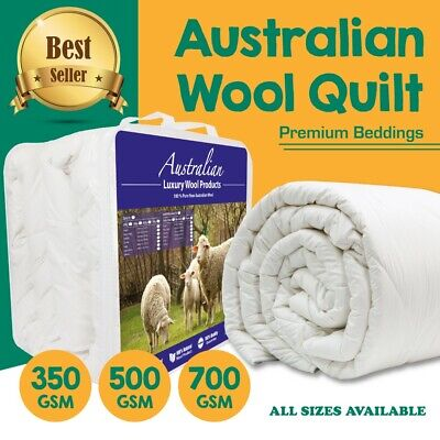 AU66 • Buy AUSTRALIAN WOOL Quilt Winter/Summer Duvet Doona 350/500/700GSM Weight ALL SIZE