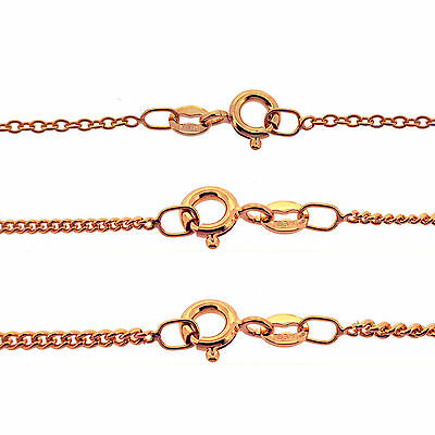 £8.20 • Buy 9CT Rose Gold Plated Italian Trace & Curb Chain Necklace 16 To 40  Various Sizes