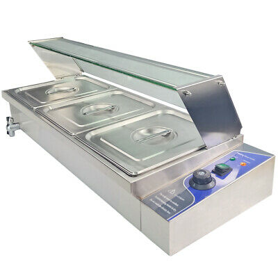 £185 • Buy 3 X1/2 GN Pan Bain Marie Catering Heat Food Warmer Wet Well Commercial Glass Top