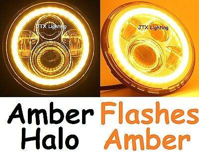 AU375 • Buy 1pr 7  LED Headlights AMBER Ford F100 F150 F250 F350 Bronco PickUp AMBER Turning
