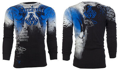 $24.99 • Buy ARCHAIC By AFFLICTION Mens LONG SLEEVE THERMAL Shirt NIGHTWATCHER Skulls $58 A