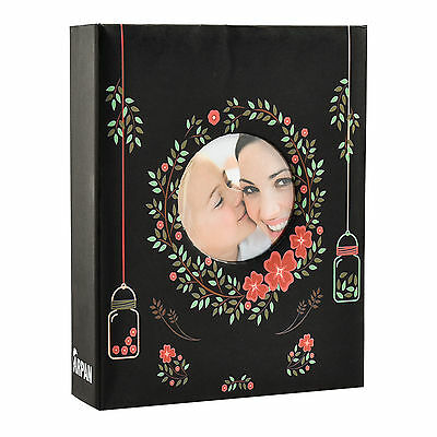 6x4  200 Photos Large Slip In Photo Album With Front Window - Floral Black  • 6.99£