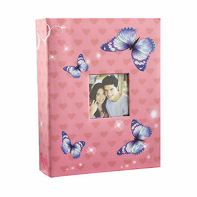 £7.99 • Buy  6x4  200 Photos Large Slip In Photo Album With Front Window - Pink Butterfly