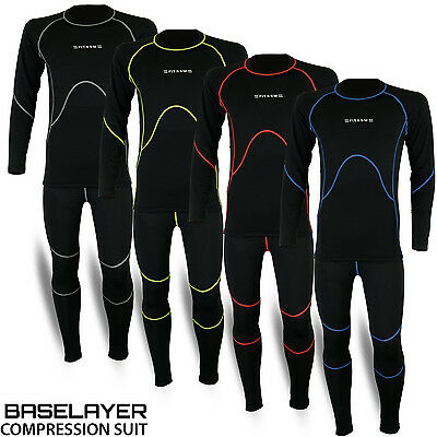 Mens Compression Thermal Base Layer Tights Shirt Under Full Suit Pant 4 Colors • 18.48£