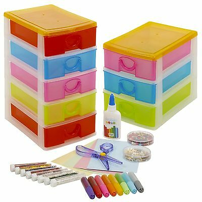 £8.99 • Buy Arts & Crafts Tower Case With Accesories Set Toy Drawers Unit Storage Organiser