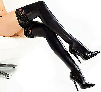 Women Dancing Wet Look Faux PU Leather Thigh High Stockings Lace Anti-Slip Socks • 2.99£