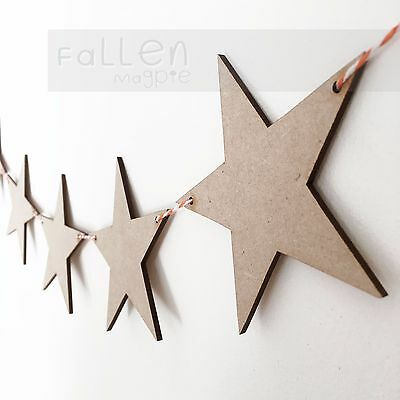 Wooden Party Bunting Star Flags Wedding Craft Blanks MDF Wood Shapes • 2.20£
