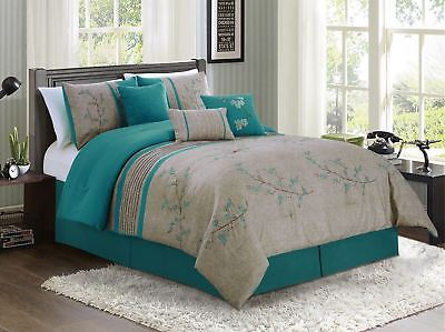 $69.99 • Buy Chezmoi Collection 7-piece Teal Cherry Blossoms Floral Embroidery Comforter Set