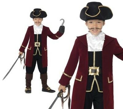 Child Deluxe Pirate Captain Hook Costume Boys Caribbean Fancy Dress Age  4 12 U2022 33.58