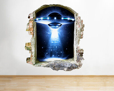 R150 Spaceship Aliens Cool Bedroom Window Wall Decal 3D Art Stickers Vinyl Room • 18.99£