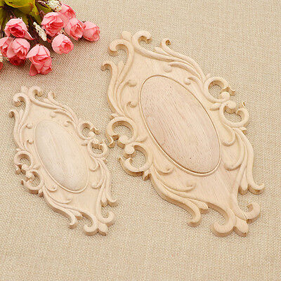 $4.25 • Buy Oval Wood Carved Corner Onlay Applique Unpainted Furniture Decorative Figurines