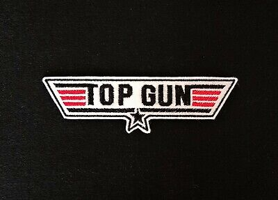 £3.60 • Buy Top Gun Black Embroidered Patch Badge Iron On Or Sew On