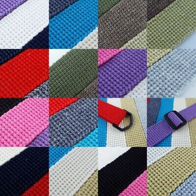14 COLOUR 25mm Cotton Acrylic Webbing 2mm Thick Bag Handle Strap Lead BUY 1 2 4m • 3.20£
