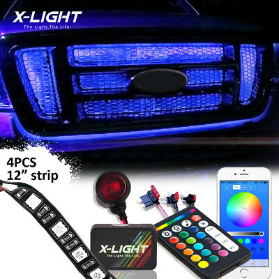 $49.99 • Buy Bluetooth Grille LED Exterior Multicolor Strip Light Kit For Car Waterproof 4pcs