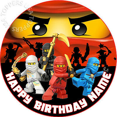 EDIBLE Lego Ninjago 2 Birthday Party Cake Topper Wafer Paper Round 75 Uncut