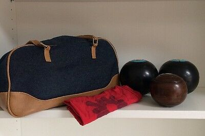Vintage GREENMASTER Bowling Bowls With Unnamed Jack And Bag • 59.95£