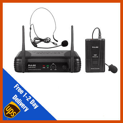 Pulse VHF Wireless Lavalier & Headset Microphone Mic System | DJ | PA | Fitness • 55.99£