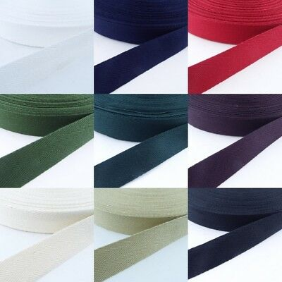 9 COLOUR 25mm Cotton Herringbone Twill Tape 1mm Thick Apron Bag Strap Webbing • 4.10£