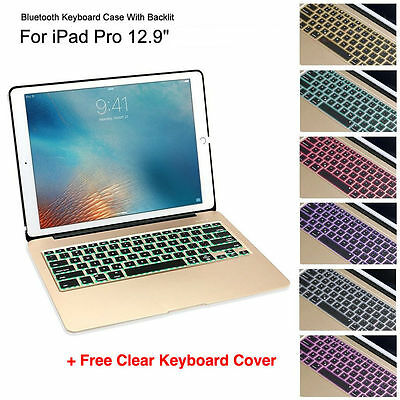 """AU180 • Buy IPad Pro 12.9"""" With Home Button Aluminum Bluetooth Backlit Keyboard Case Gold"""