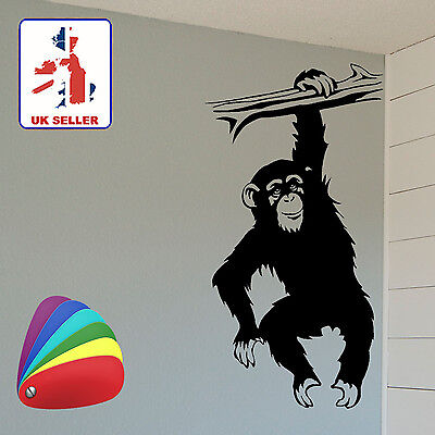 Funny Hanging Monkey / Chimpanzee Wall Art Sticker For Walls, Doors, Cars Etc • 3.97£