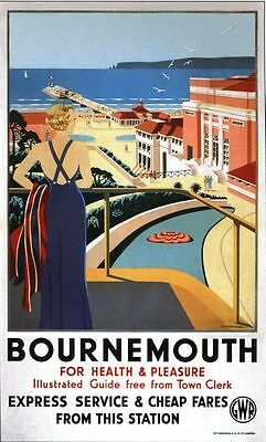 £5.13 • Buy Vintage GWR Bournemouth Health And Pleasure Railway Poster A3/A2/A1 Print