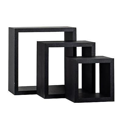 £16.49 • Buy Square Display Shelves Floating Wooden Wall Storage - 3 Sizes - Black - Set Of 3
