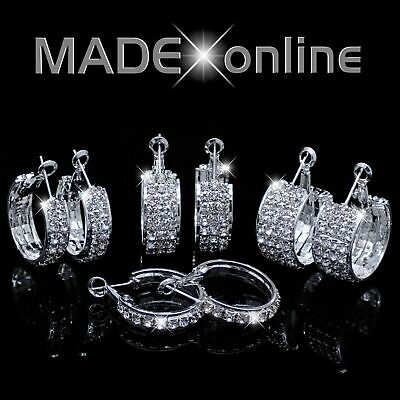 Round Chunky Diamante Silver Plated Bling Hoop Earrings • 4.99£