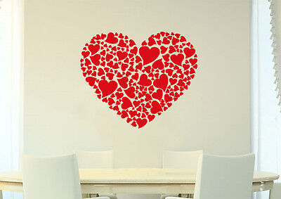 Large Wall Heart Art Vinyl Sticker, Home DIY Wall Sticker Decal HIGH QUALITY • 14.99£