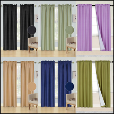 $21 • Buy  2 Panels Rod Pocket Foam Lined Thermal Blackout Window Dressing Curtain R64