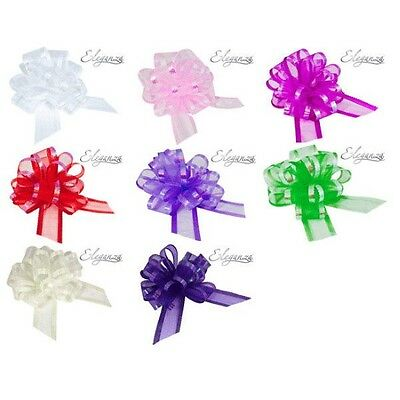Organza Pull Bows 50mm For Wedding Car Pew Gift Wrap Party • 2.28£