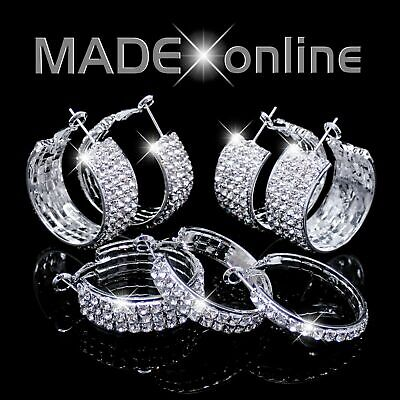 Chunky Hoop Earrings, Silver Plated Sparkle Diamante Sparkly Bling • 4.99£