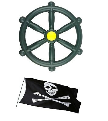 Kids Pirate Wheel Green For Climbing Frames Plus A FREE Jolly Roger Pirate Flag • 17.99£