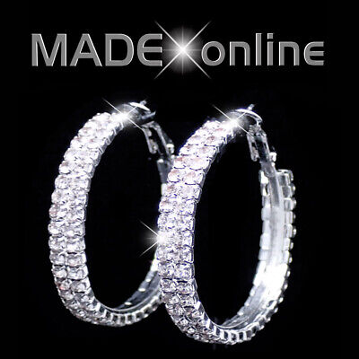 Two Line Round Hoop Earrings, 2 Diamante Sparkly Bling • 5.99£
