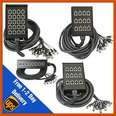 Pulse 10m/15m/30m/40m Tour Grade XLR Multicore Snake Stage Box Wall Mountable • 77.99£