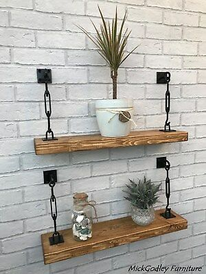 Rustic Reclaimed Floating Industrial Shelves Solid Wood • 69.99£