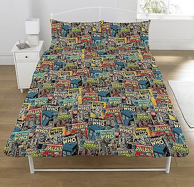 Dr Who Comic Book Covers Duvet Cover Bedding Doctor Dalek Zygons Tardis Blue Red • 25.99£