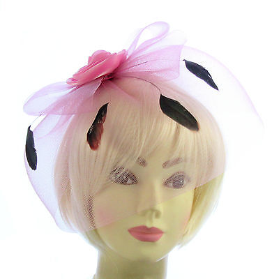 Pink  Fascinator Hat With Veil And Feather Headband, Weddings, Races, Ladies Day • 4.88£