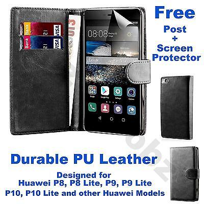 Book Wallet PU Leather Case Flip Cover Huawei P8 P9 P10 Lite + Screen Protector • 2.45£