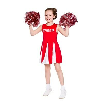 £8.95 • Buy Child HIGH SCHOOL CHEERLEADER RED Musical Fancy Dress Costume Ages 3-13 Years