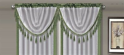 $4.75 • Buy AMY 1PC Sage Green  White Faux Silk Rod Pocket Swag Waterfall Dressing Valance