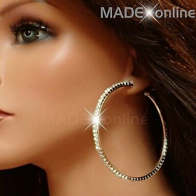 Extra Large, Big Diamante Round Hoop Sparkle Earrings, Sparkly Crystal Bling • 4.99£