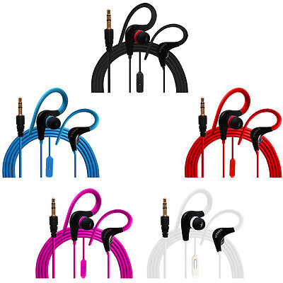 $6.99 • Buy Ear Hook Earphones Earbuds Headphones Mic Music Control 5 Colors Lot 1/2/3/6/12
