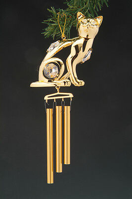 £12.42 • Buy Kitty Cat FIGURINE - ORNAMENT WIND CHIME 24KT GOLD PLATED WITH AUSTRIAN CRYSTALS