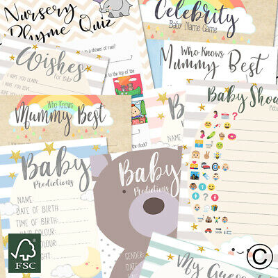 Baby Shower Games Prediction Cards Advice Who Knows Mum Charades Mum's Tum Game • 2.99£